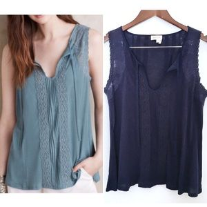 Anthropologie Meadow Rue Blue Laced Tie Front Tank